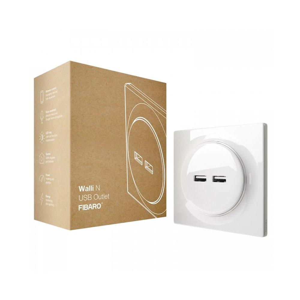 Priza dubla Fibaro Walli N USB Outlet FGWU-021, 2 iesiri, 5VDC, 2400 mA, alb