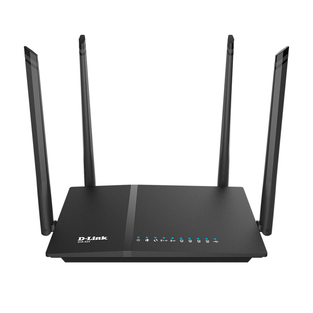 Router wireless Gigabit Dual Band D-Link AC1200 DIR-825/EE, 5 porturi, 2.4/5.0 GHz, MU-MIMO, 1200 Mbps