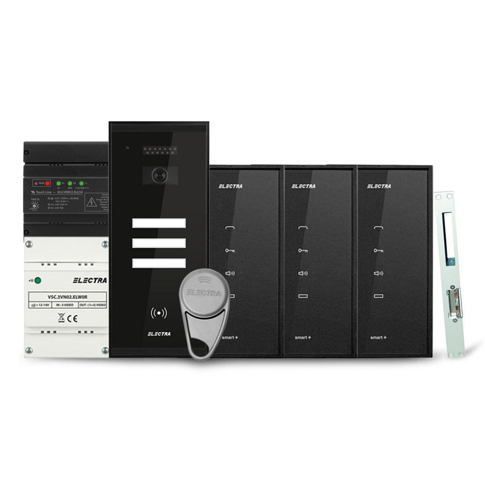 Set interfon Electra Smart INT-ELEC-05, 3 familii, RFID, 6 tag-uri imagine spy-shop.ro 2021