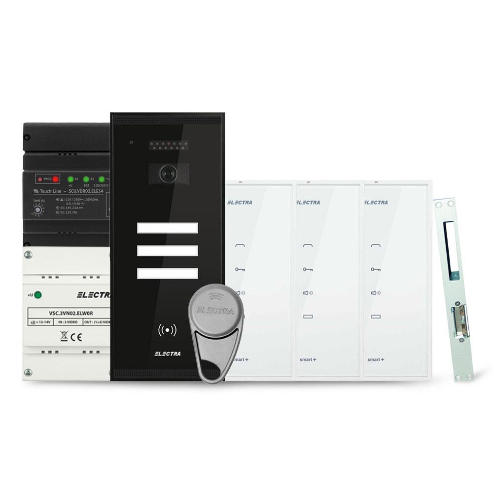 Set interfon Electra Smart INT-ELEC-06, 3 familii, RFID, 6 tag-uri imagine spy-shop.ro 2021