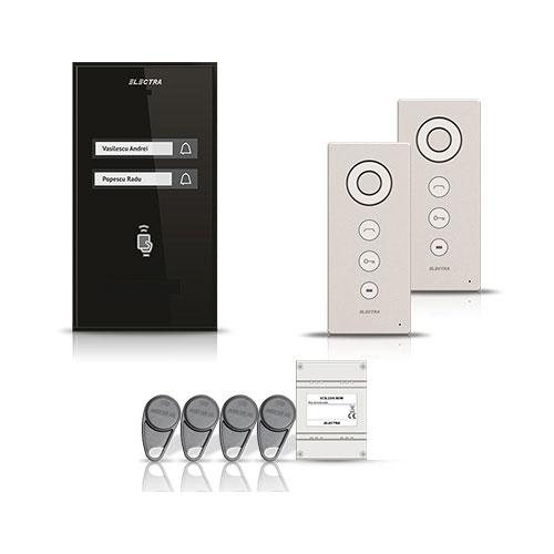 Set interfon Electra Smart INT-ELEC-07, 2 familii, RFID, 4 tag-uri