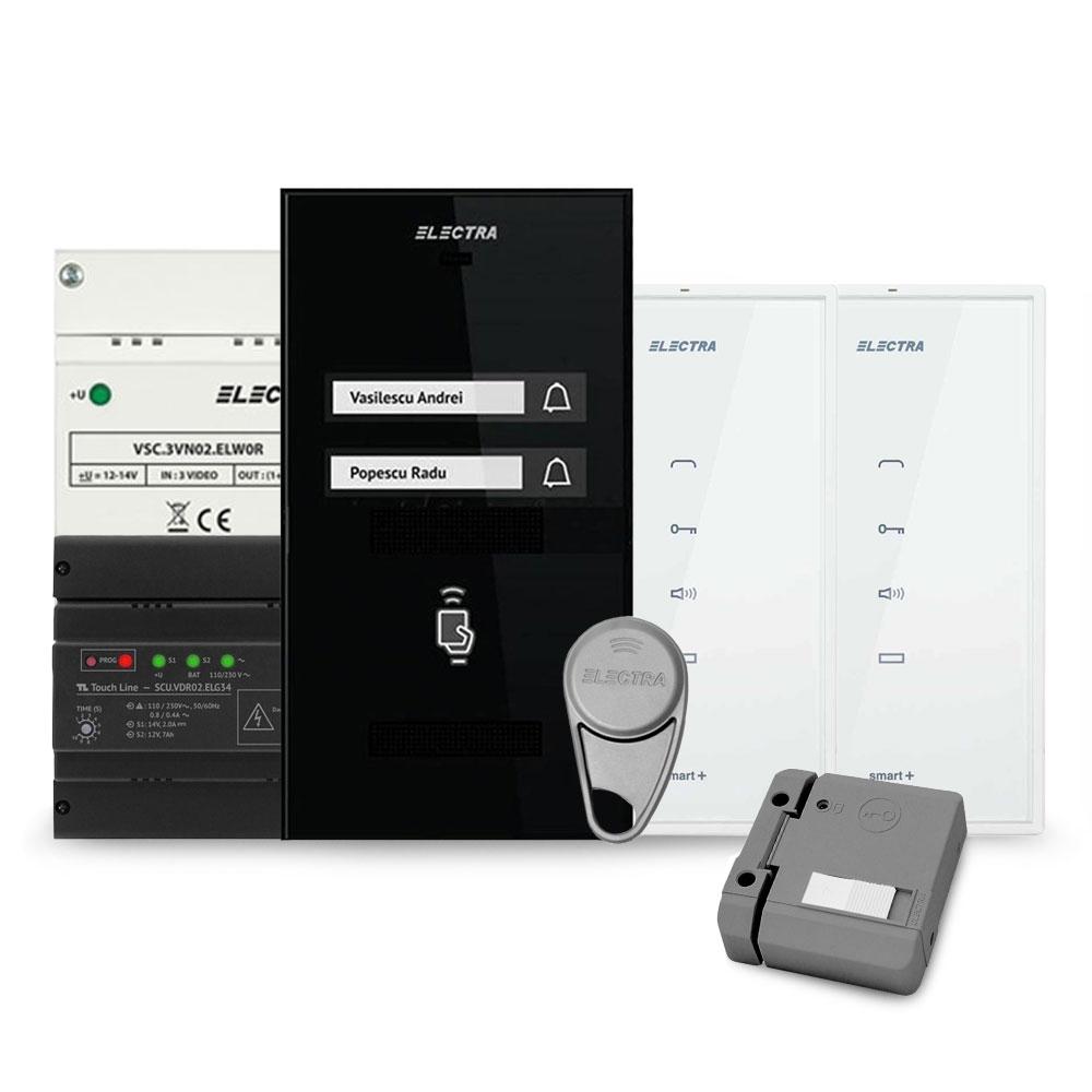 Set interfon Electra Smart INT-ELEC-08, 2 familii, RFID, 4 tag-uri imagine spy-shop.ro 2021