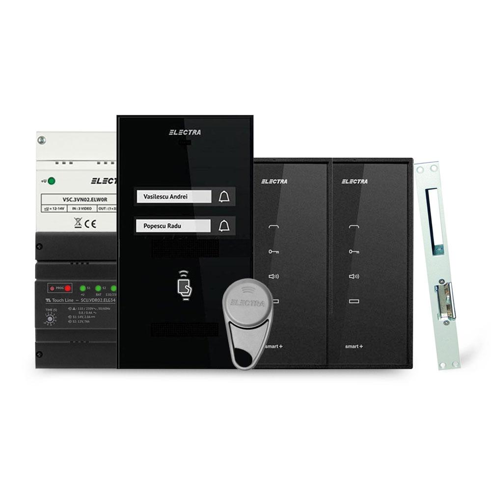 Set interfon Electra Smart INT-ELEC-09, 2 familii, RFID, 4 tag-uri imagine spy-shop.ro 2021