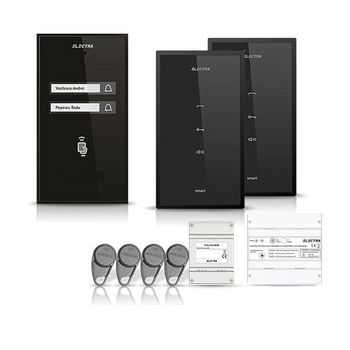 Set interfon Electra Smart INT-ELEC-10, 2 familii, RFID, 4 tag-uri
