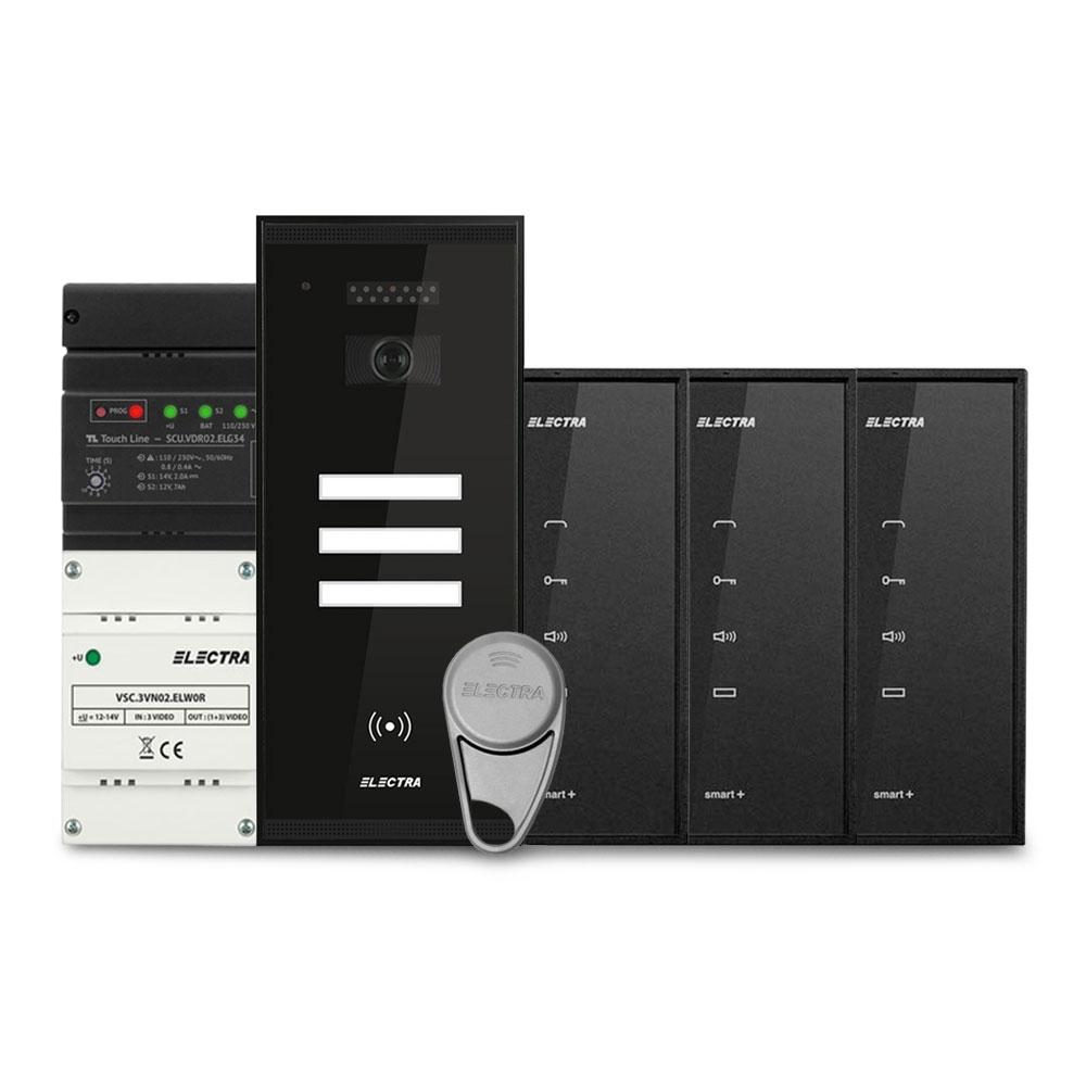 Set interfon Electra Smart INT-ELEC-16, 3 familii, RFID, 6 tag-uri imagine spy-shop.ro 2021