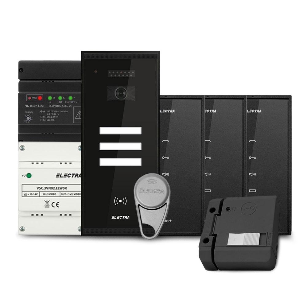 Set interfon Electra Smart INT-ELEC-18, 3 familii, RFID, 6 tag-uri imagine spy-shop.ro 2021