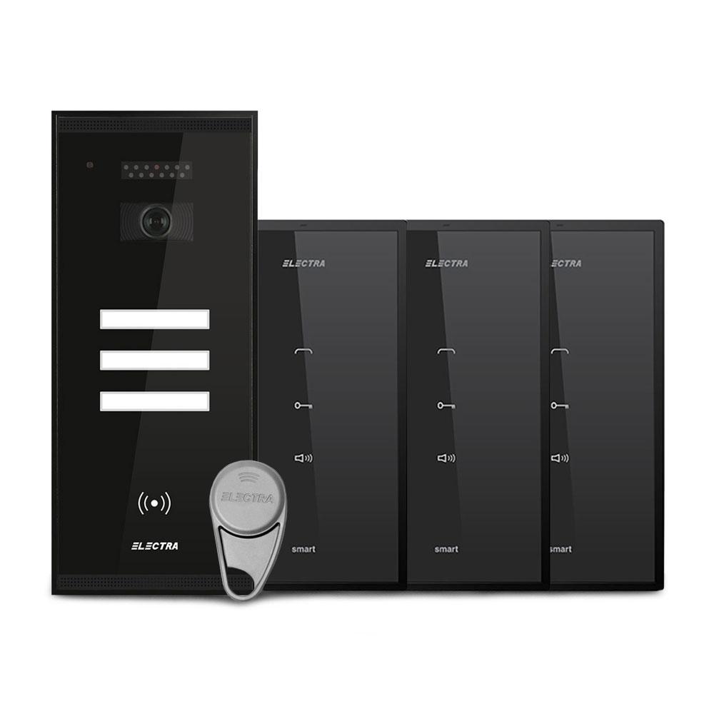 Set interfon Electra Smart KIT.APM.3S0.xxB(W), 3 familii, RFID, 15 tag-uri imagine spy-shop.ro 2021