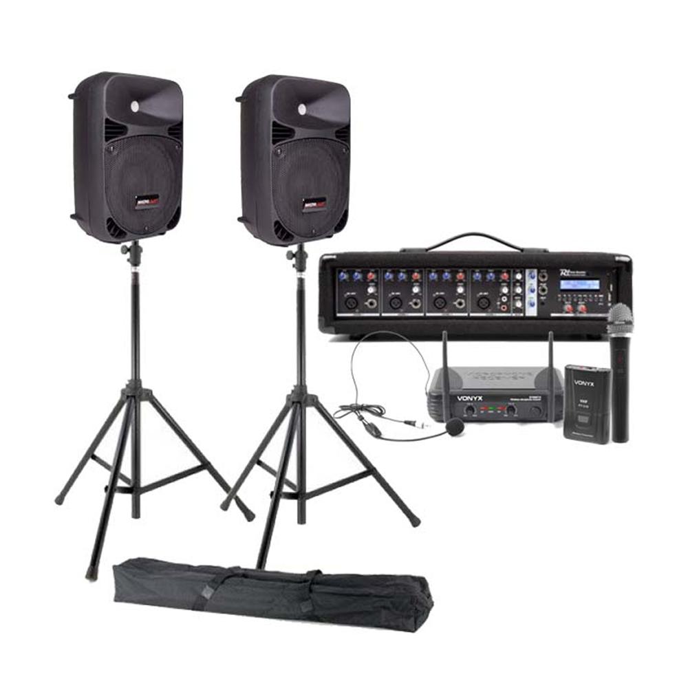 Set sonorizare Presenter 5, boxe profesionale cu microfoane wireless