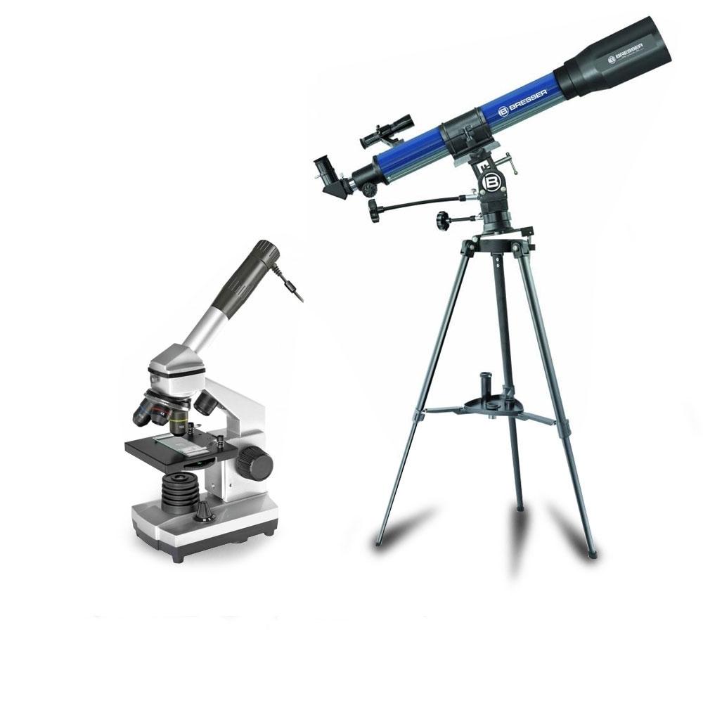 Set telescop 70/900 EL si microscop 40X-1024X Bresser imagine spy-shop.ro 2021