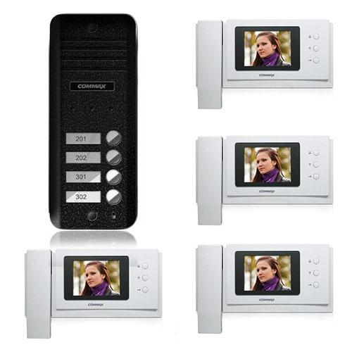 Set videointerfon Commax CNM-4F, 3 familii, 4 inch, aparent imagine