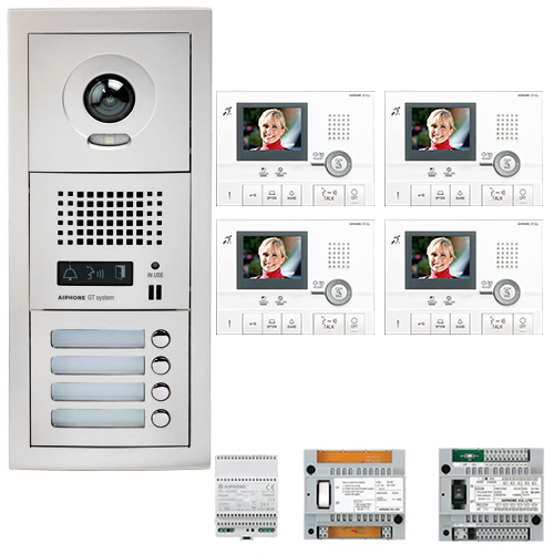 Set videointerfon Aiphone GTV4E, 4 familii, 3.5 inch, aparent imagine spy-shop.ro 2021