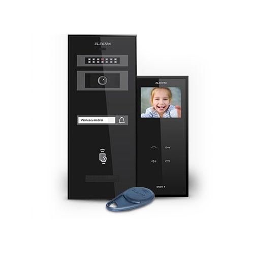 Set videointerfon Electra Smart KIT.VPM.1S0.xxB(W), 1 familie, aparent, 3.5 inch imagine spy-shop.ro 2021