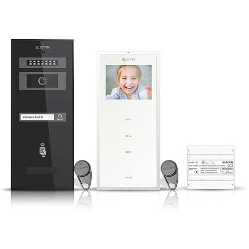 Set videointerfon Electra Smart VID-ELEC-01, 1 familie, aparent, ecran 3.5 inch