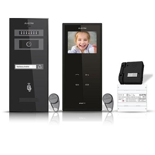 Set videointerfon Electra Smart VID-ELEC-02, 1 familie, 3.5 inch, aparent imagine spy-shop.ro 2021