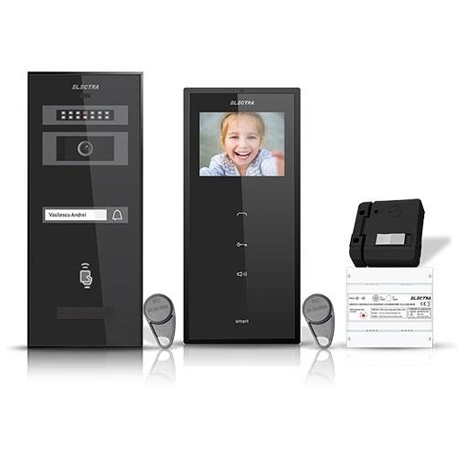 Set videointerfon Electra Smart VID-ELEC-04, 1 familie, 3.5 inch, aparent imagine spy-shop.ro 2021