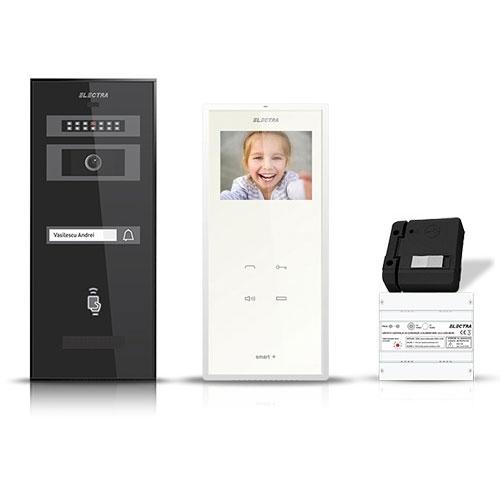 Set videointerfon Electra Smart VID-ELEC-06, 1 familie, aparent, ecran 3.5 inch