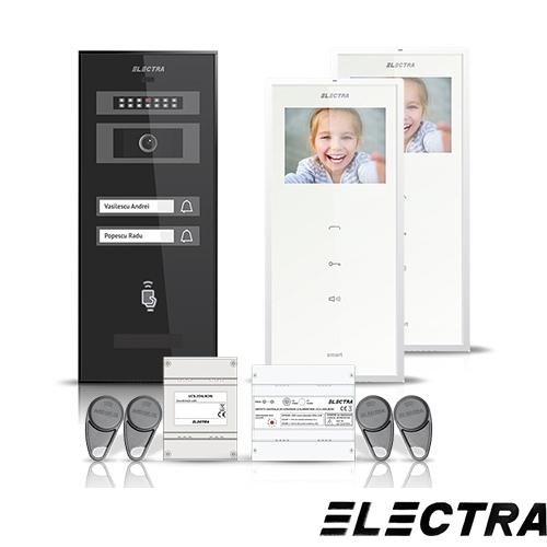 Set videointerfon Electra Smart VID-ELEC-07, 2 familii, aparent, ecran 3.5 inch