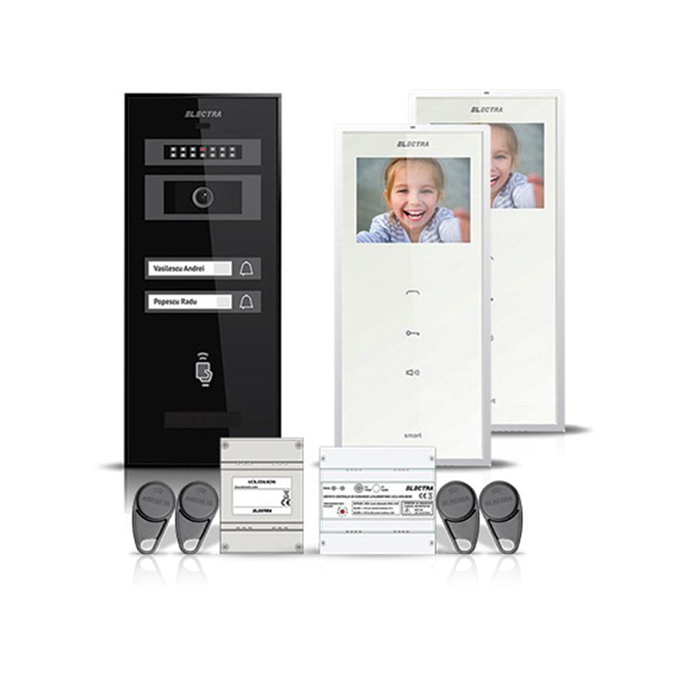 Set videointerfon Electra Smart VID-ELEC-07, 2 familii, aparent, ecran 3.5 inch imagine spy-shop.ro 2021
