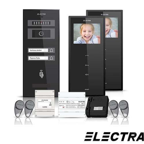 Set videointerfon Electra Smart VID-ELEC-08, 2 familii, aparent, ecran 3.5 inch
