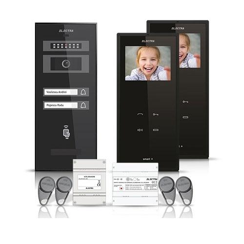 Set videointerfon Electra Smart VID-ELEC-10, 2 familii, ecran 3.5 inch