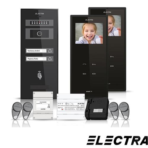 Set videointerfon Electra Smart VID-ELEC-11, 2 familii, aparent, ecran 3.5 inch