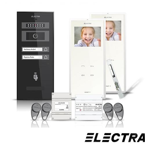 Set videointerfon Electra Smart VID-ELEC-12, 2 familii, aparent, ecran 3.5 inch