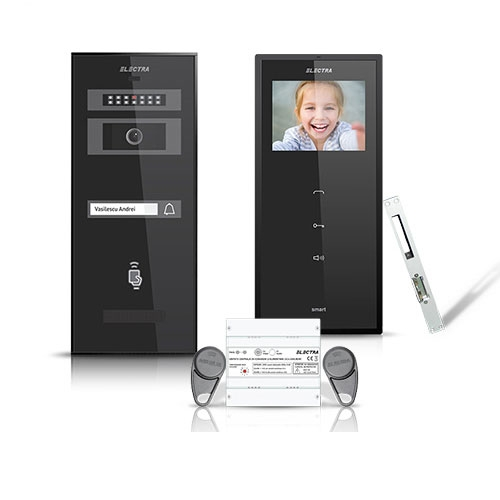 Set videointerfon Electra Smart VID-ELEC-14, 1 familie, aparent, ecran 3.5 inch