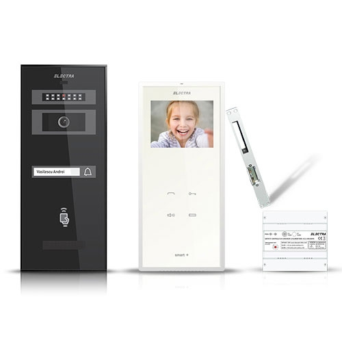 Set videointerfon Electra Smart VID-ELEC-15, 1 familie, ingropat, ecran 3.5 inch