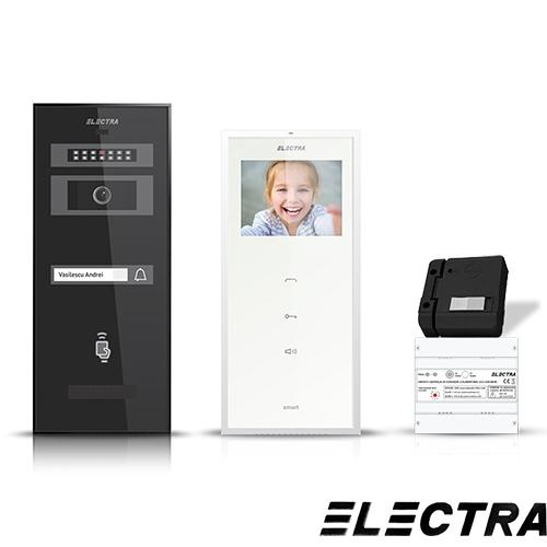 Set videointerfon Electra Smart VID-ELEC-17, 1 familie, aparent, ecran 3.5 inch