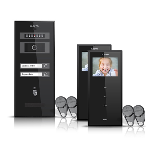 Set videointerfon Electra Smart VID-ELEC-20, 2 familii, aparent, ecran 3.5 inch imagine spy-shop.ro 2021