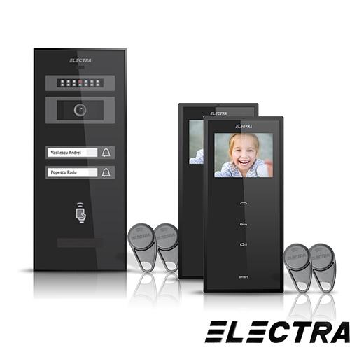Set videointerfon Electra Smart VID-ELEC-20, 2 familii, aparent, ecran 3.5 inch