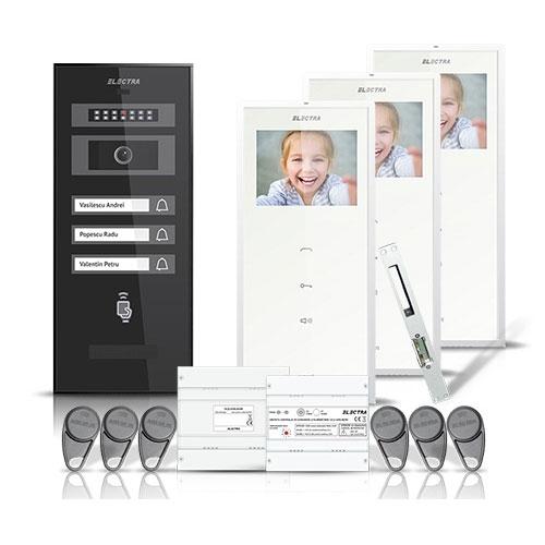 Set videointerfon Electra smart VID-ELEC-22, 3 familii, aparent, ecran 3.5 inch