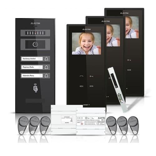 Set videointerfon Electra Smart VID-ELEC-23, 3 familii, aparent ecran 3.5 inch