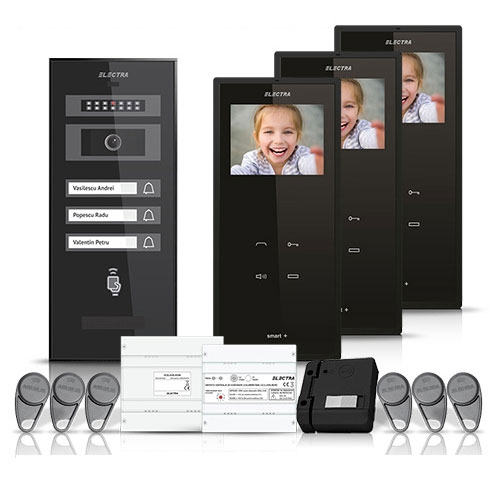Set videointerfon Electra Smart VID-ELEC-24, 3 familii, aparent, 3.5 inch imagine spy-shop.ro 2021