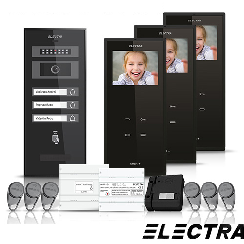 Set videointerfon Electra Smart VID-ELEC-25, 3 familii, aparent, ecran 3.5 inch