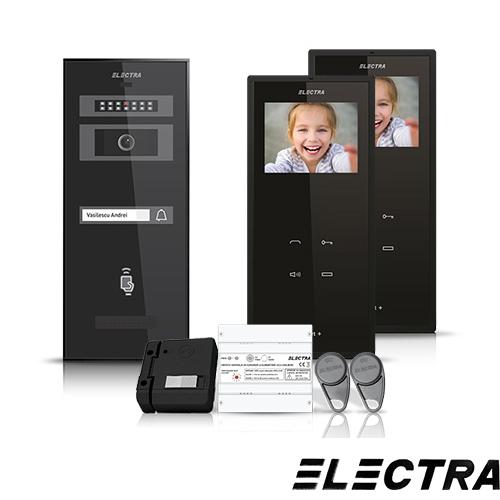 Set videointerfon Electra Smart VID-ELEC-31, 1 familie, aparent, ecran 3.5 inch
