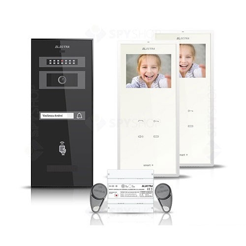 Set videointerfon Electra Smart VID-ELEC-30, 1 familie, aparent, 3.5 inch imagine spy-shop.ro 2021