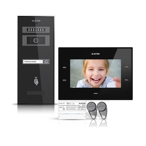 Kit videointerfon Electra Smart VID-ELEC-34, 1 familie, aparent, ecran 7 inch