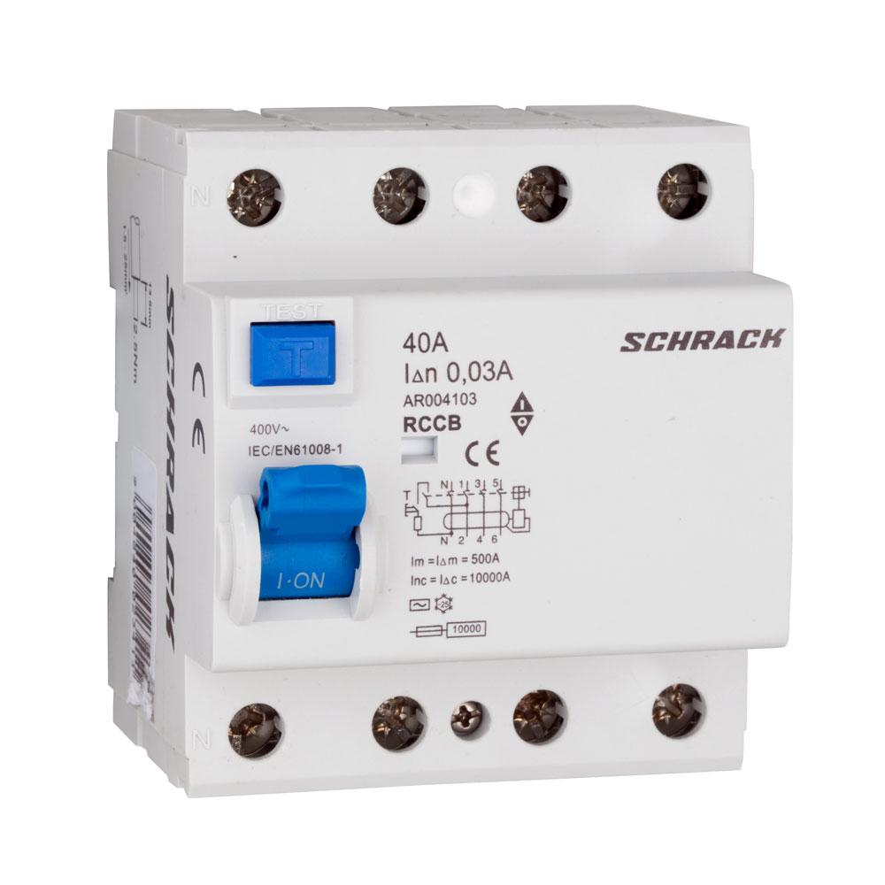Siguranta diferentiala Schrack AR004103, C40A, 10kA, 4 poli