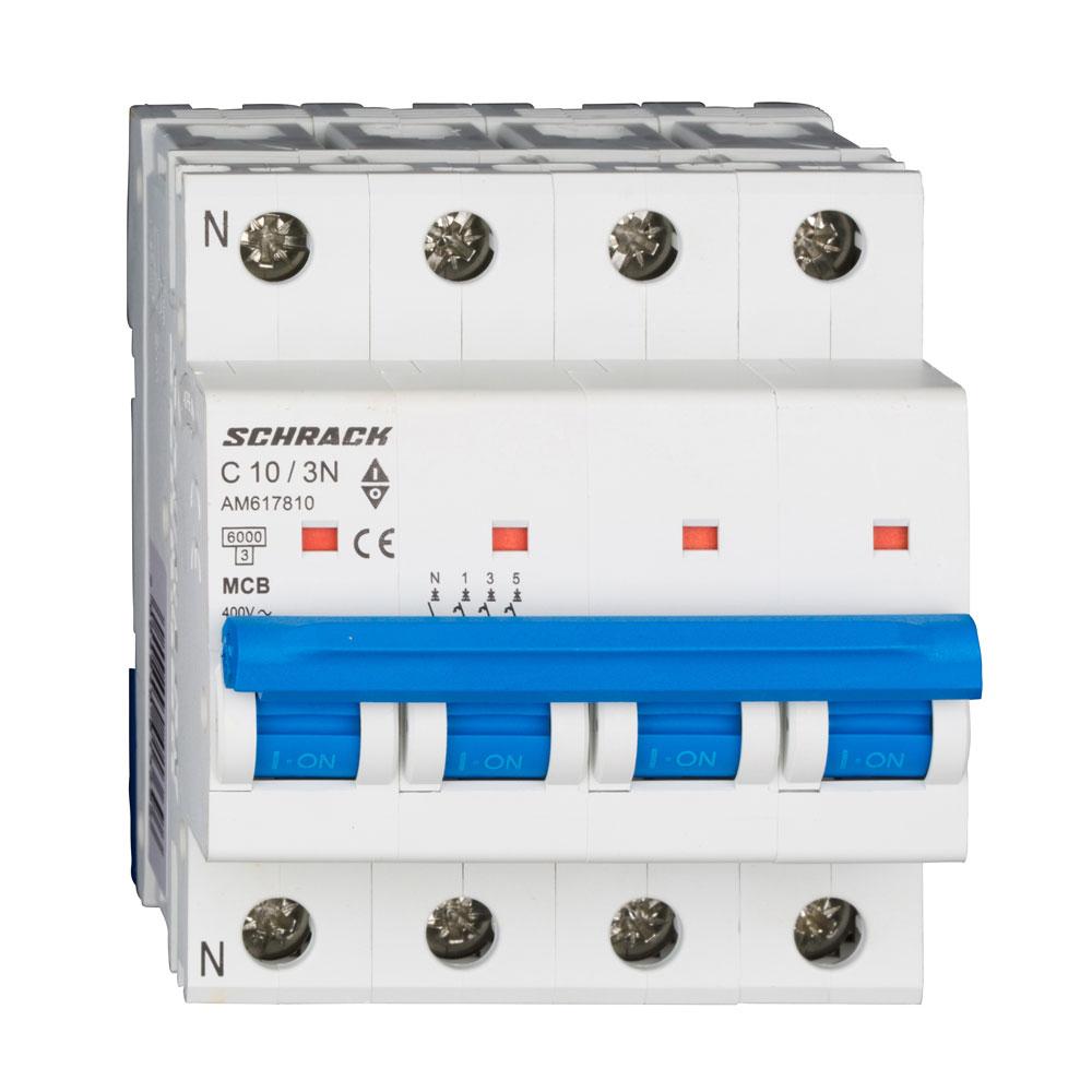 Siguranta modulara automata Schrack AM617810, C10A, 6kA, 3P+N