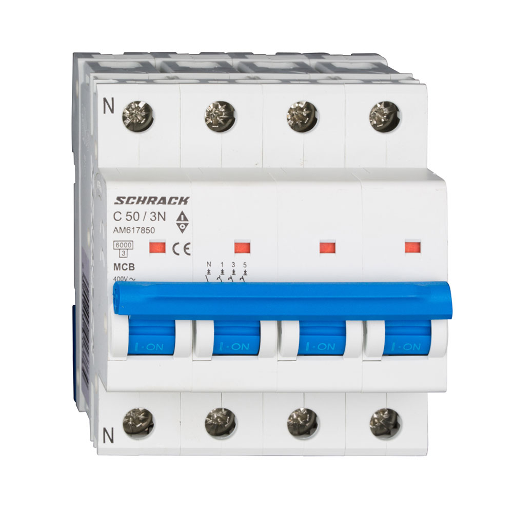 Siguranta modulara automata Schrack AM617850, C50A, 6kA, 3P+N