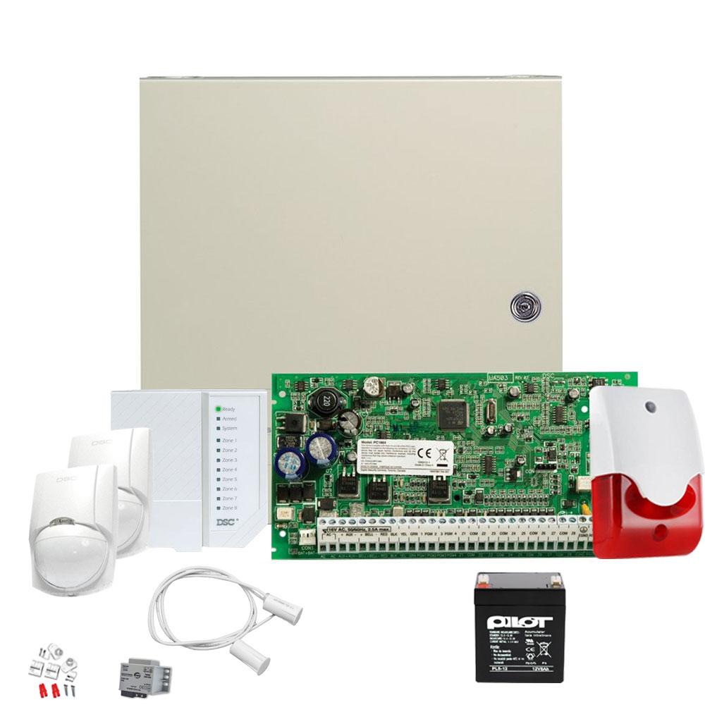 Sistem alarma antiefractie de interior DSC POWER KIT PC 1616 INT, 2 partitii, 6 zone, 48 coduri utilizatori imagine