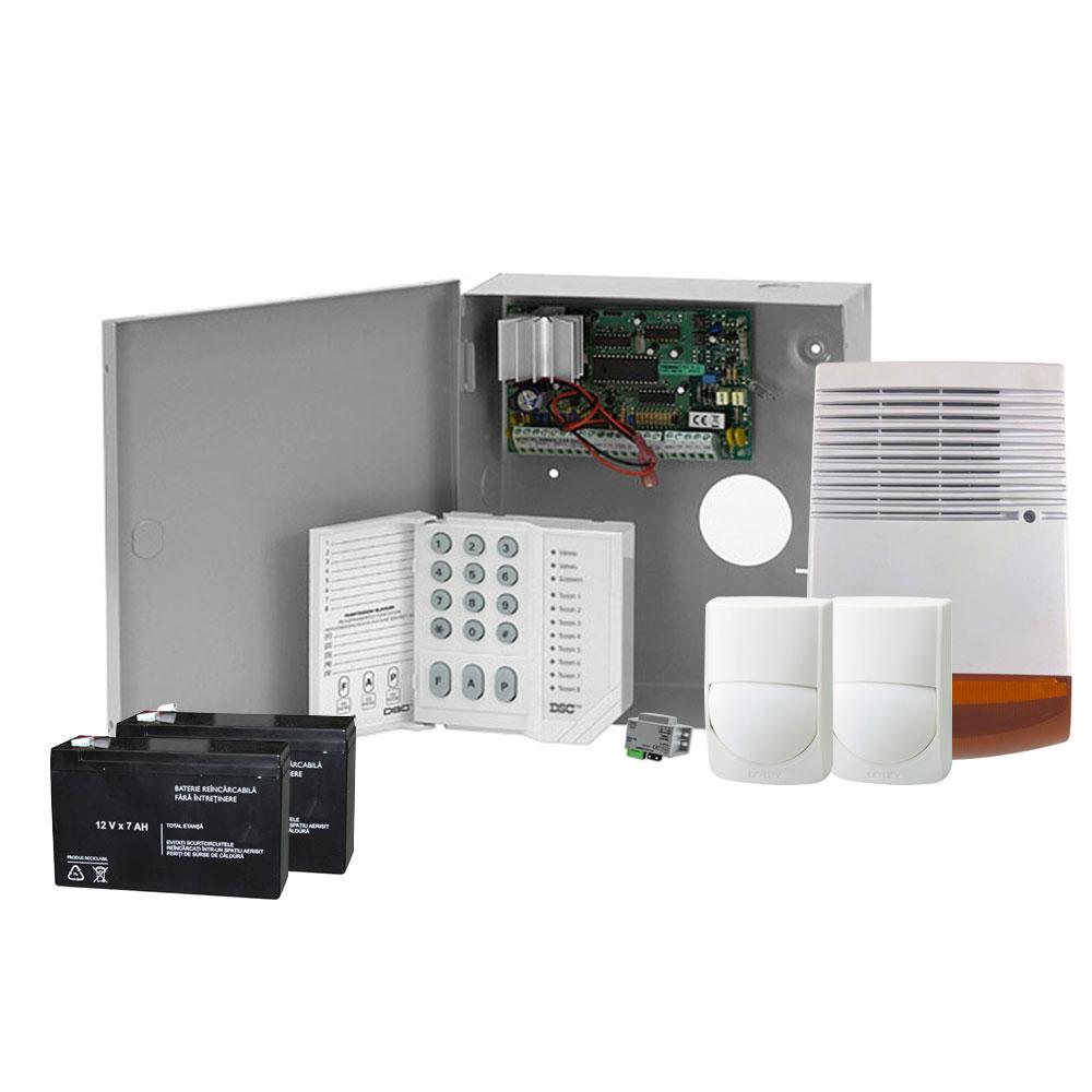 Sistem alarma antiefractie DSC KIT-ALARMA-1C-2D-1SE-2ACM-1TR, 1 partitie, 4-32 zone, 38 utilizatori