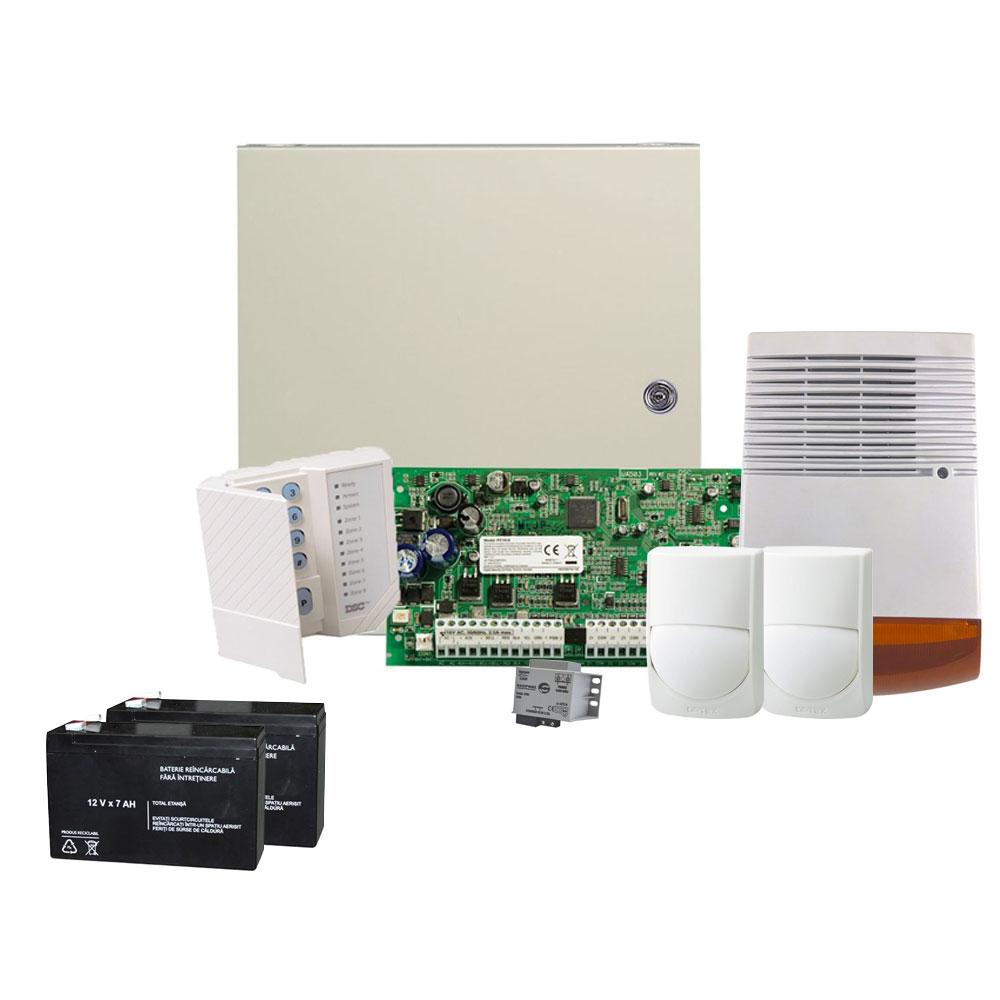 Sistem alarma antiefractie DSC KIT-ALARMA-1C-2D-1SE-2ACM-1TR-V2, 2 partitii, 6-16 zone, 48 utilizatori