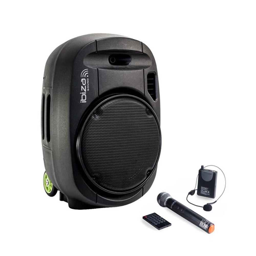 Sistem audio portabil Ibiza PORT12-VHF MKII 761052, 350 W, bluetooth, microfoane wireless, karaoke
