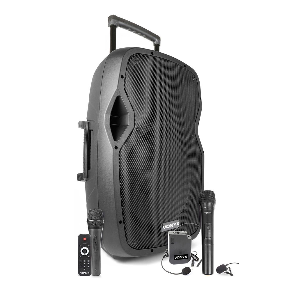 Sistem boxa activa cu 2 microfoane Vonyx AP1500PA-Headset 761058, 15 inch, 250 W, fitness