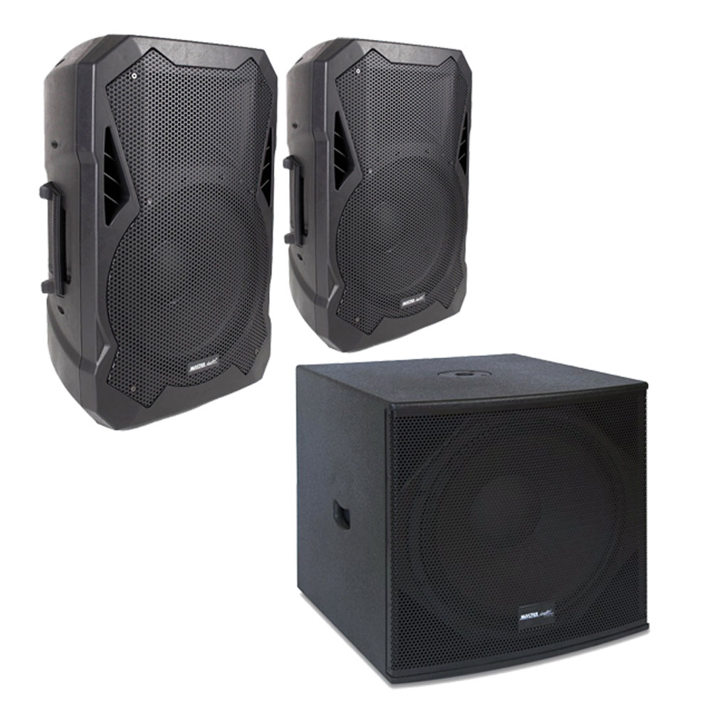 Sistem boxe active Master Audio Power Line 021237, 1200 W, boxe 15 inch, subwoofer 18 inch, bluetooth, egalizator de putere
