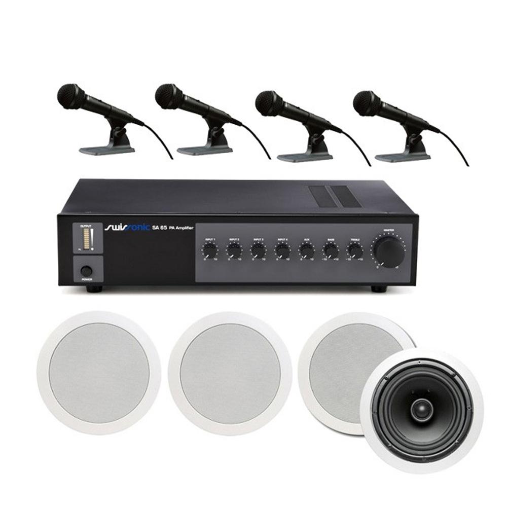 Sistem boxe conferinta Basic 1, 4 difuzoare plafon, 4 microfoane, 120 mp