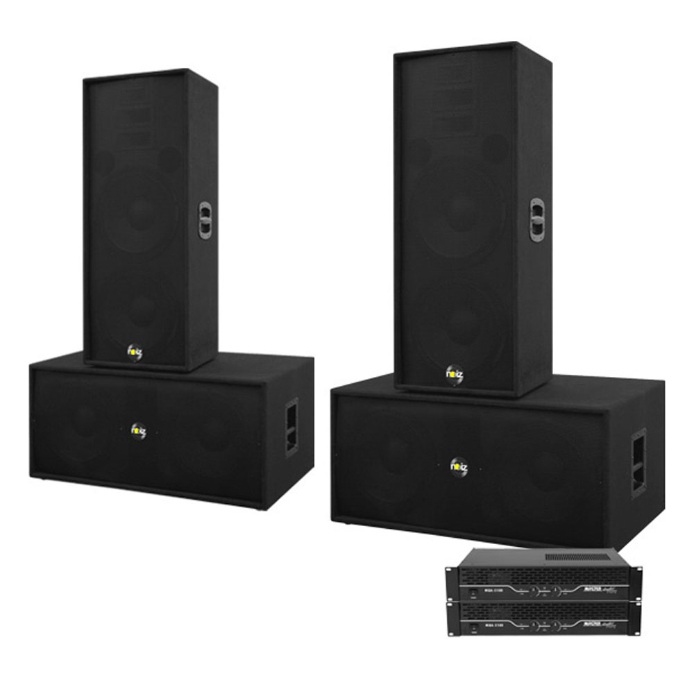 Sistem boxe sonorizare Noiz Bass-Line Complet 906034-1, 2000 W RMS, 15 inch, plug and play