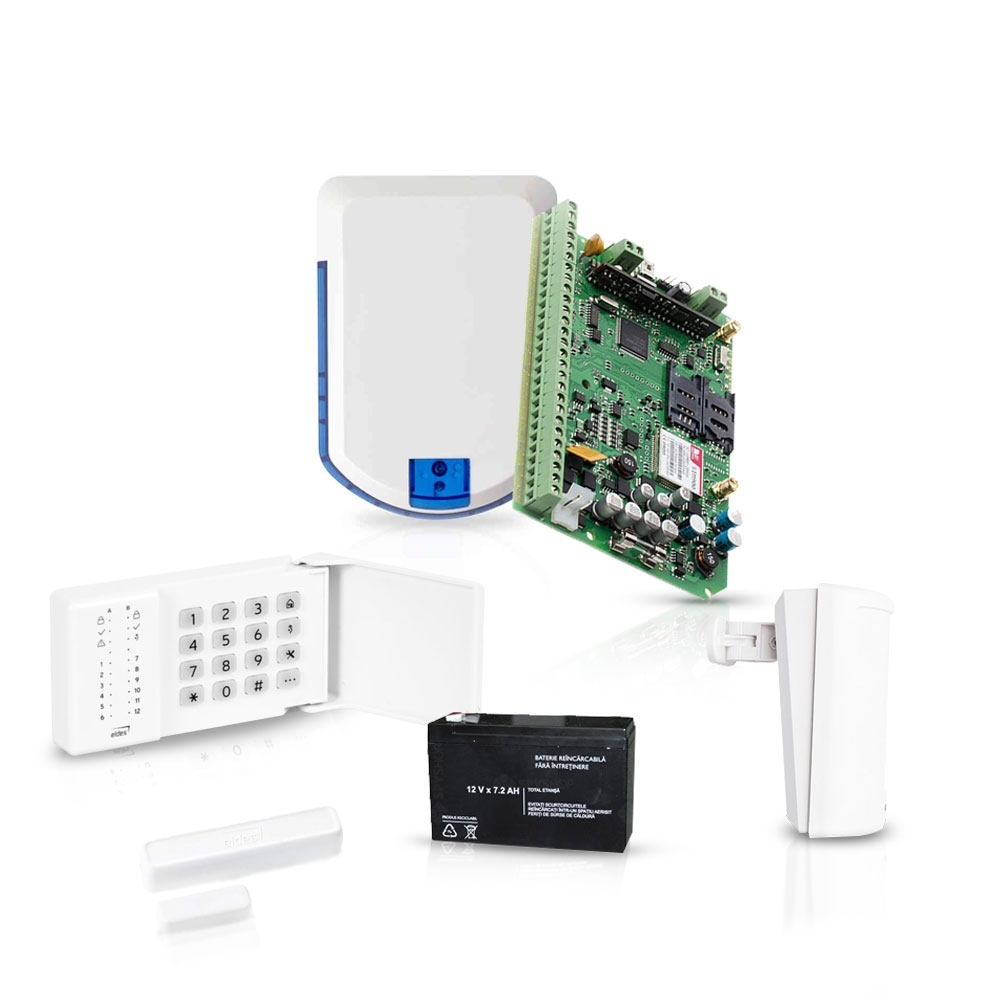 Sistem de alarma wireless Eldes, GSM/GPRS, 32 zone, 4 partitii, 1 detector